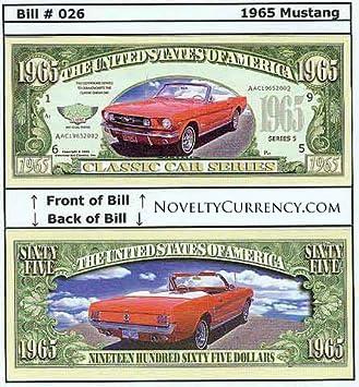 Car Novelty 5-1965 Mustang DOLLAR BILLS--Classic ITEM V Collectible