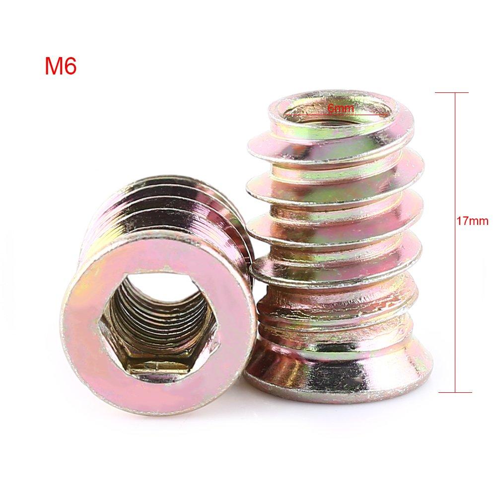 Insertos de Tuerca Tuercas de Inserciones de Acero al Carbono Tuercas de Insertar Hexagonal Roscado para Muebles de Madera M8*20mm