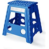 Acko 16 Inches Super Strong Folding Step Stool for Adults and Kids, Blue Kitchen Stepping Stools, Garden Step Stool, holds up to 440 LBS (Blue)