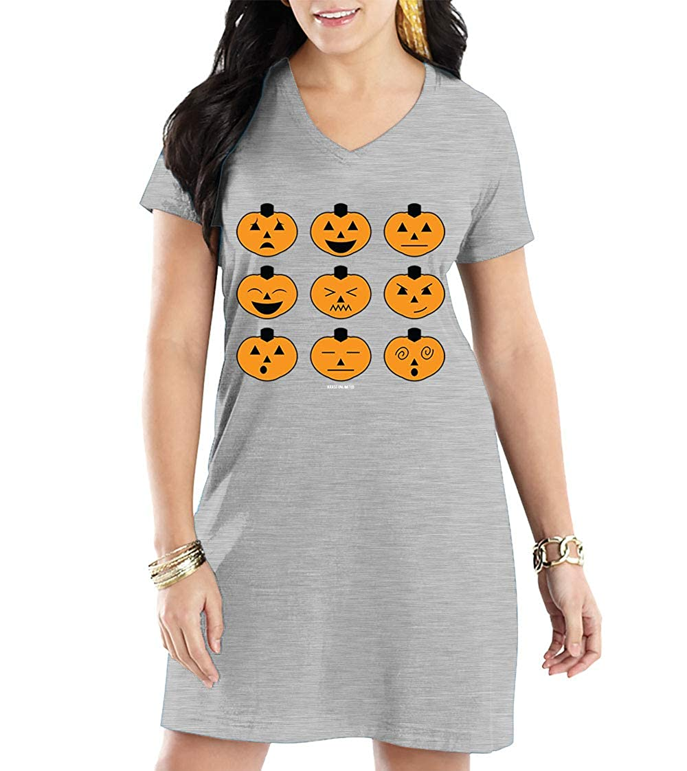 Halloween Pumpkin Icons Vneck Nightshirt