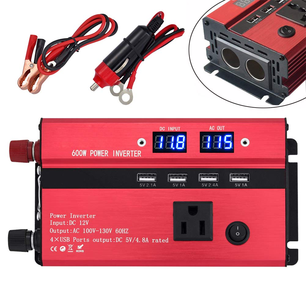 Tellunow Power Inverter 600W, Car Inverter Digital Display DC 12V To AC 110V Outlet, 1 AC Outlets & 4 USB Ports & 2 Cigarette Lighter Outlets, Car/Battery / Colar Power Converter