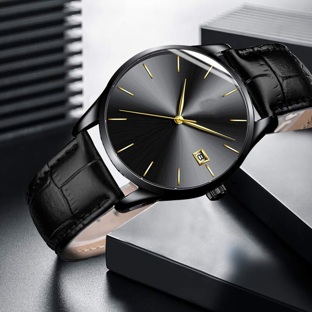 Wyx kvarts klocka för män, affärer multifunktion datumfönster, casual mode vattentät (svart) WTR a