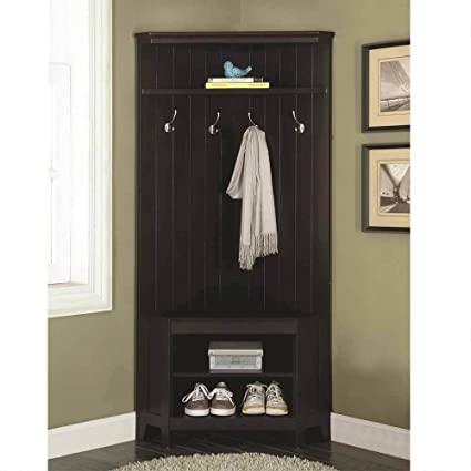 Beau 1PerfectChoice Corner Hall Tree Coat Rack Shoe Storage Cabinet Bench Shelves  Wooden Black