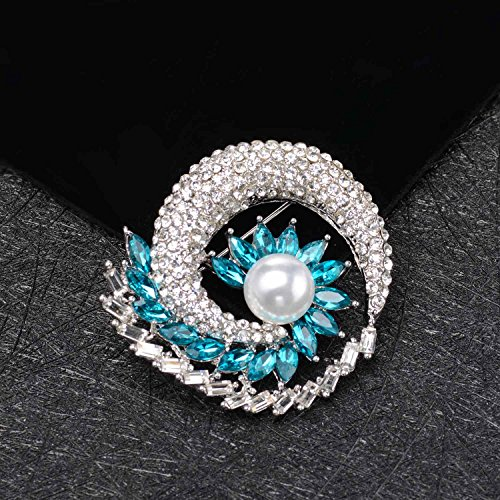 Wonvin Mujer Broche Blanco 18K Oro Chapado Girasol Diamantes de Imitación para Damas