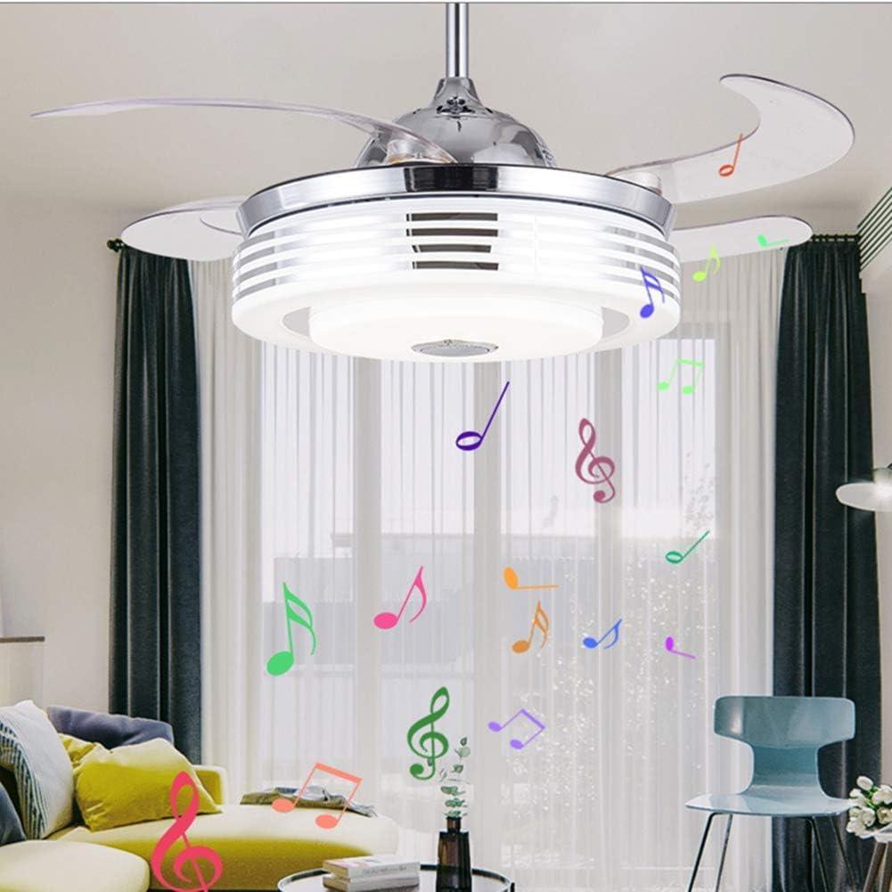 Pengfei Ventilador de Techo de 42 'con Luces Altavoz Bluetooth Inteligente Candelabros de Control Remoto, aspas retráctiles, 3 velocidades, iluminación Regulable de 7 Colores para Sala de Estar Dorm