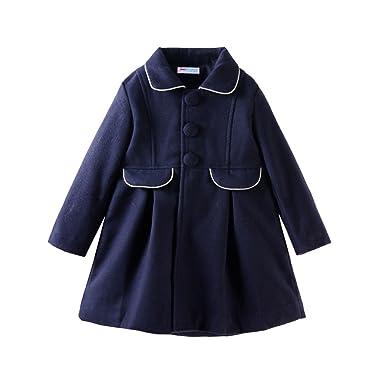 3980b8eb2afe Amazon.com  Mud Kingdom Little Girls Peacoat Faux Wool Dress Coat ...