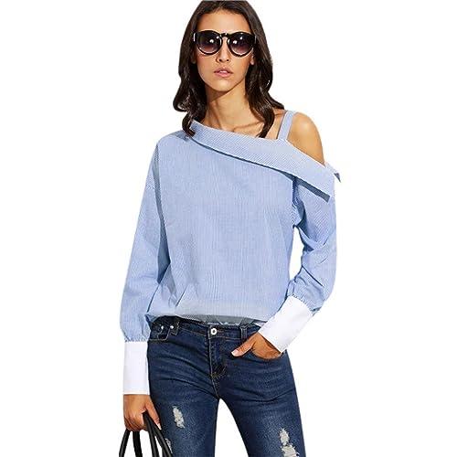 Camiseta de verano para mujer, RETUROM Mujeres de moda azul rayas plegable asimétrica hombro manga l...