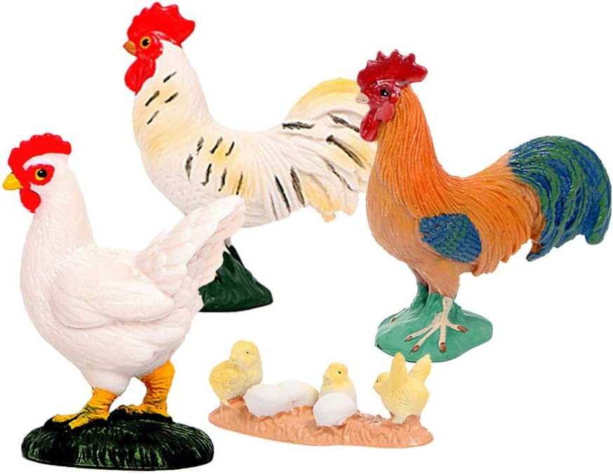 VALICLUD 4pcs Chickens Rooster Miniature Figures Rooster Figurines Farm Animal Figurine Fairy Garden Decorations Micro Landscape Ornaments Dollhouse Decor