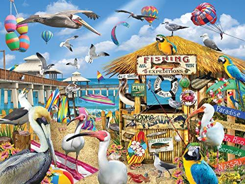 White Mountain Puzzles Pelican Paradise  - 1000 Piece Jigsaw Puzzle ()