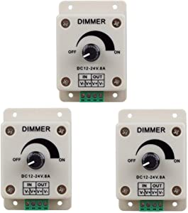 Hiletgo 3pcs DC12-24V 8Amp 0%-100% PWM Dimming Controller for LED Lights, Ribbon Lights,Tape Lights,Dimmer is compatible with Hilight, LEDwholesaler, fillite, and others' strips