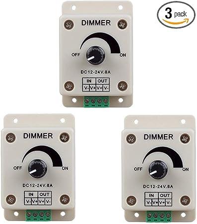 LED Dimmer PWM 12V-24V DC 8A Regler Helligkeitsregler Light Strip Controller DE