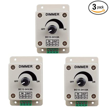 Hiletgo 3pcs DC12-24V 8Amp 0%-100% PWM Dimming Controller for LED Lights,  Ribbon Lights,Tape Lights,Dimmer is compatible with Hilight, LEDwholesaler,