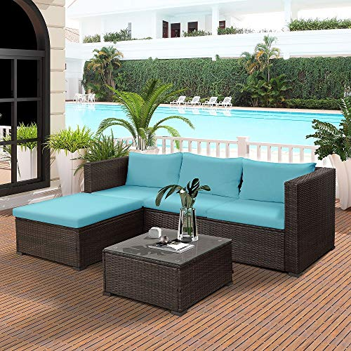 Cushioned Rattan Ottoman - Merax 3-Piece Outdoor Patio Furniture Set Cushioned PE Rattan Sectional Garden Sofa - Blue Cushions