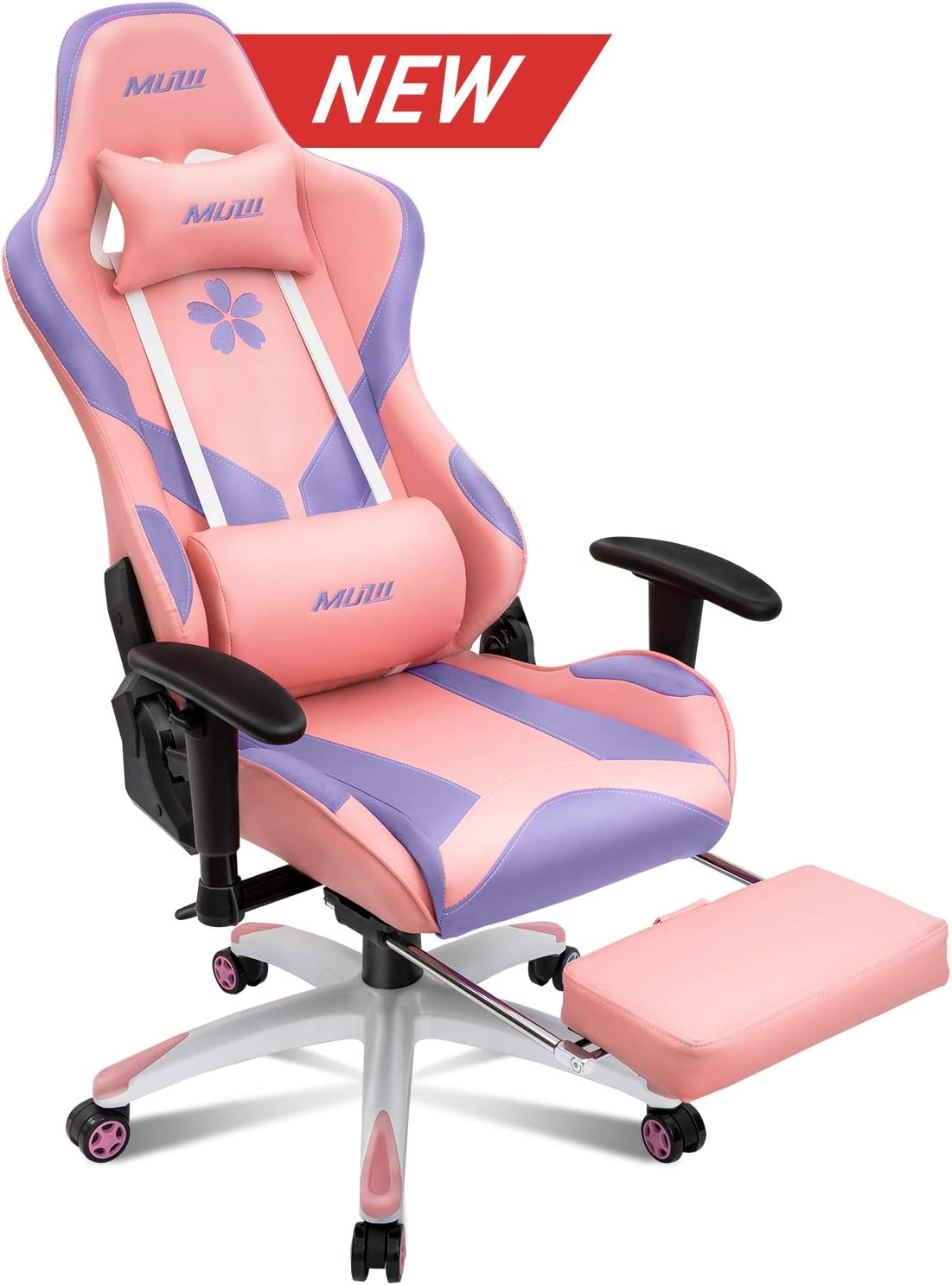 Muzii Pink and Purple Gaming Chair with Footrest, High-Back PU Leather Office Chair with Headrest and Adjustable Lumbar Support,Ergonomic Computer Swivel Chair for Teens and Adults