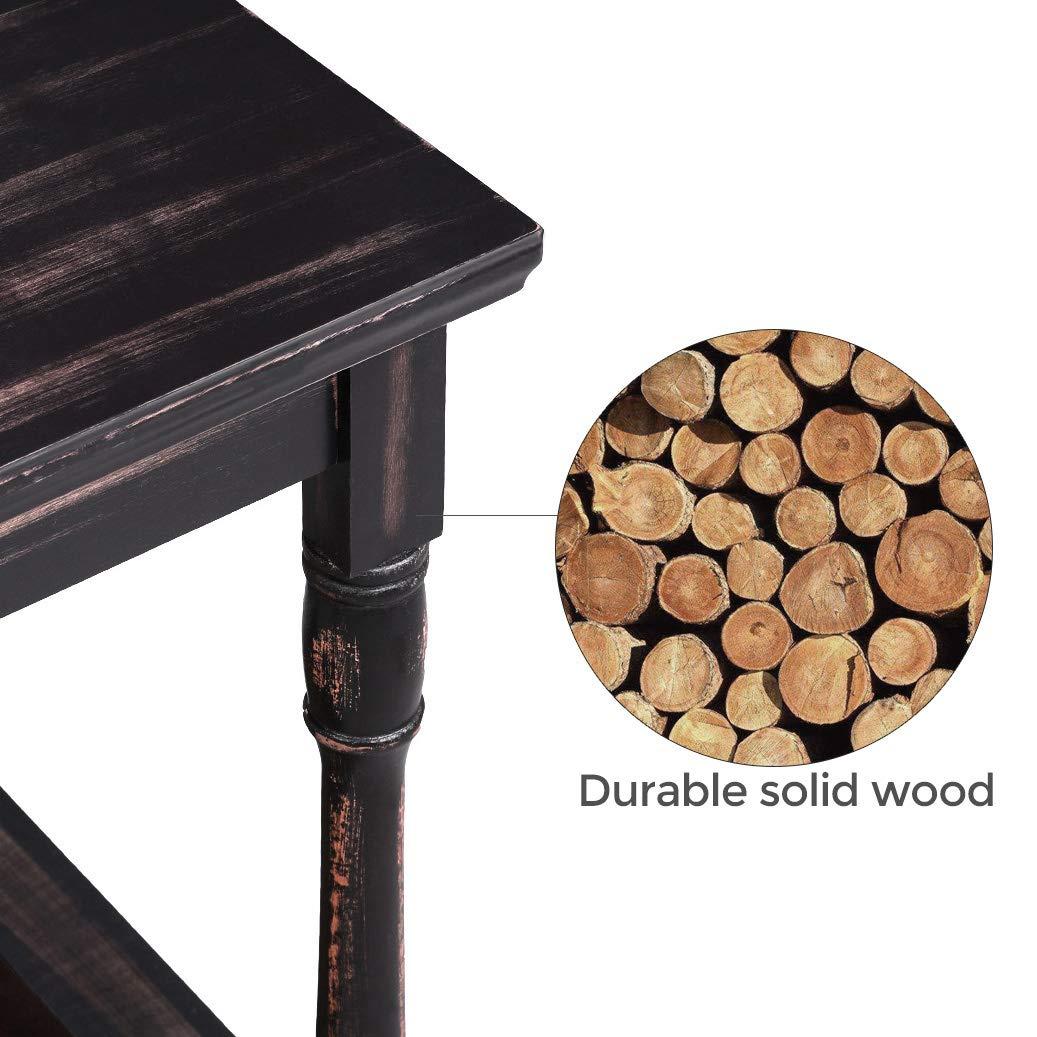 pour Salon Brun LET16GL VASAGLE Table dappoint Pieds en Bois massif avec /Étag/ère de Rangement Multi-Colore Bout de canap/é Montage Facile