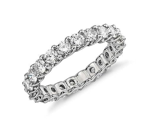 Anillo de eternidad/compromiso/boda de plata de ley 925 y circonio cúbico,