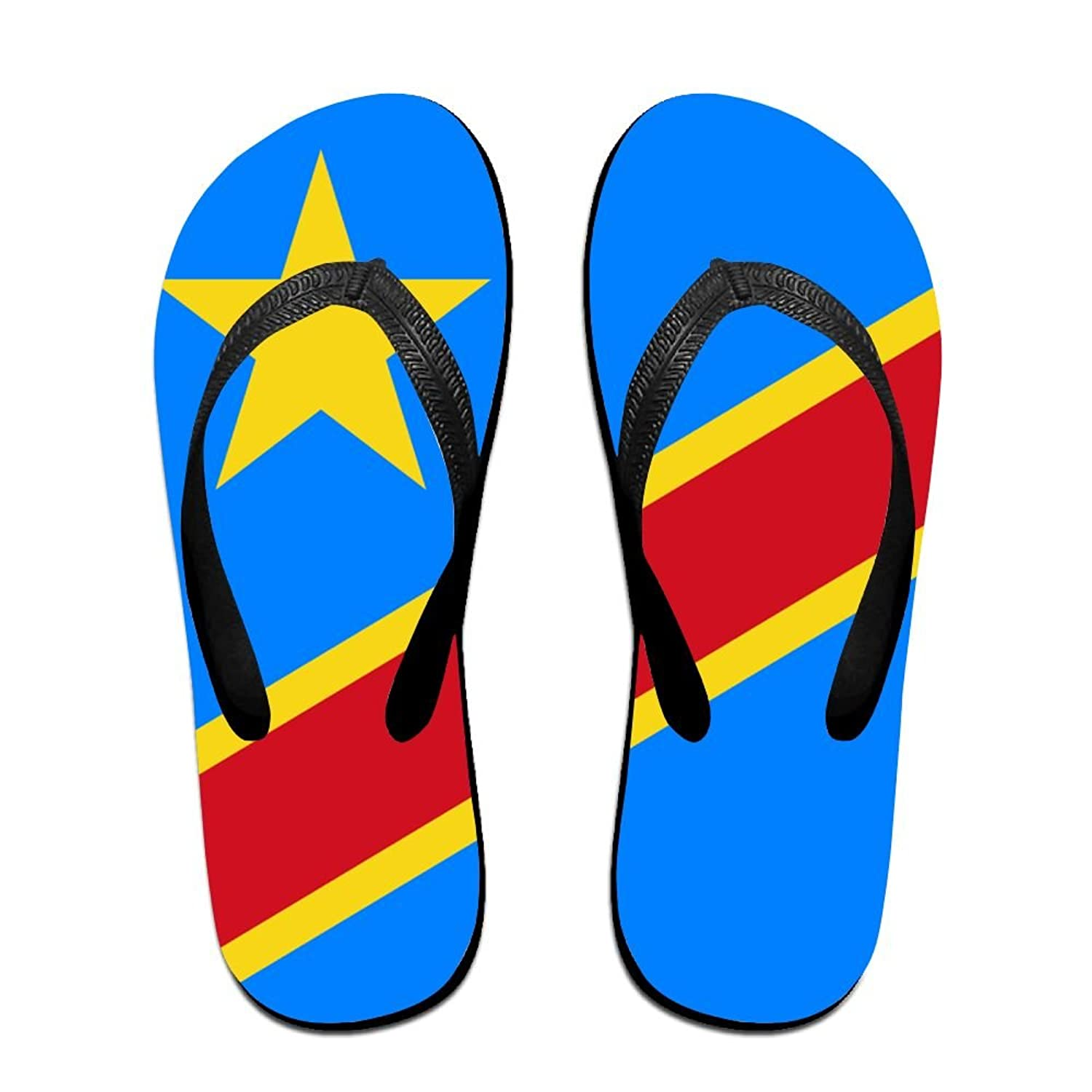 Flag Of The Republic Of The Congo Cozy Flip Flops For Children Adults Men And Women Beach Sandals Pool Party Slippers