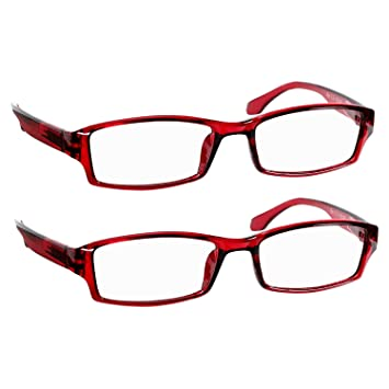 ea16fba8000 Reading Glasses 5.5 Red (2 Pack) Best Readers for Men and Women - Stylish