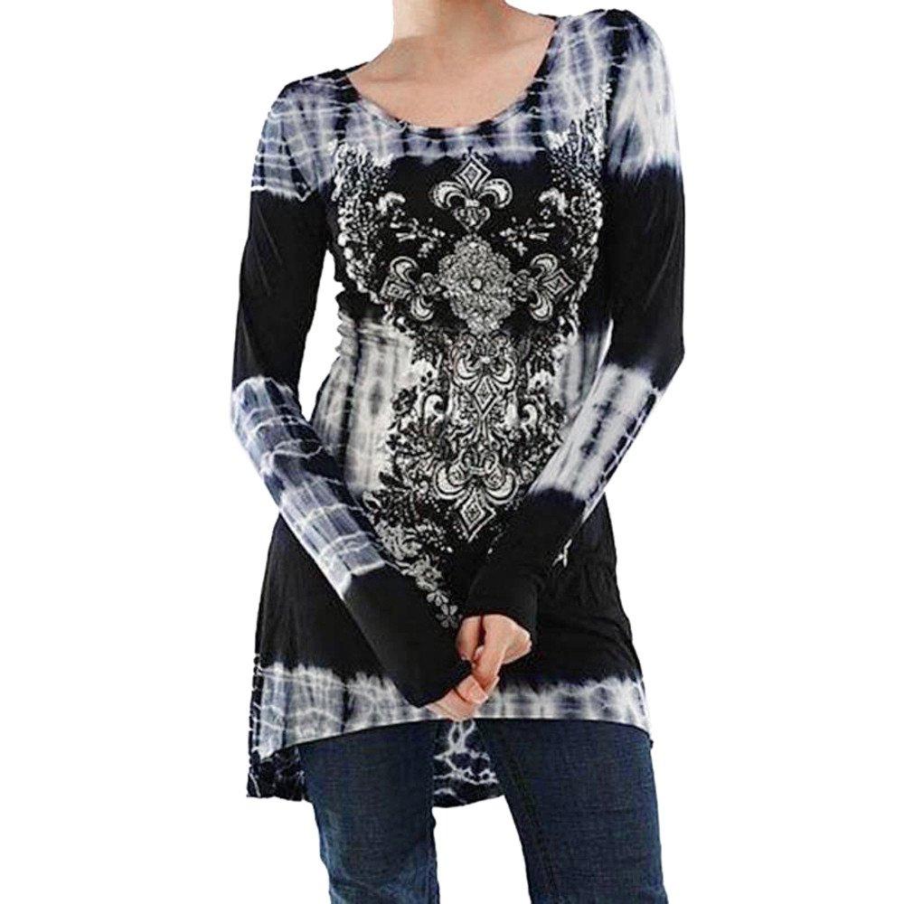 KEERADS T-Shirt Mode Chic Femme Manche Longues Imprimé NuméRique Fleur Tunique Lche Longue Blouse Femme Tops Printemps Svelte Chemise