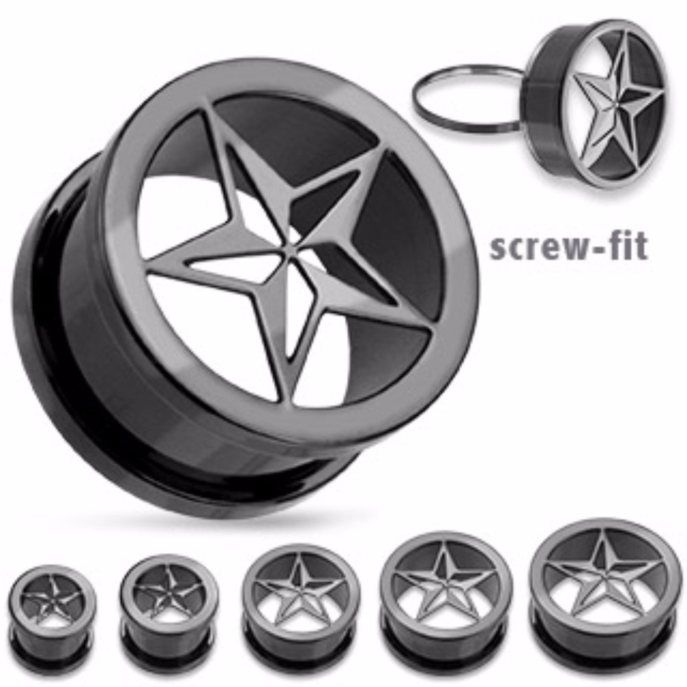 Punk Star Screw Fit Freedom Fashion Tunnel 316L Surgical Steel Sold by Pair