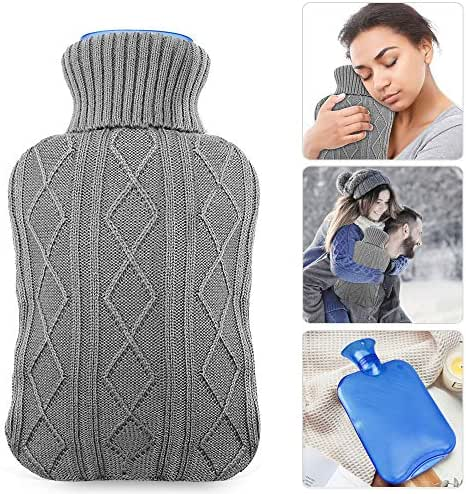 Hot Water Bottle with Knit Cover, UBEGOOD Rubber Transparent Hot Water Bag, Good for Pain Relief (2 Liters, Blue/Gray)