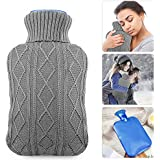 Hot Water Bottle with Knit Cover, UBEGOOD Rubber Transparent...