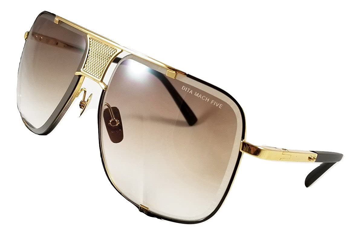 978b644eab6 Dita Mach Five 2087 Sunglasses Gold-Matte Black Frame with Brown Lens   Amazon.co.uk  Clothing