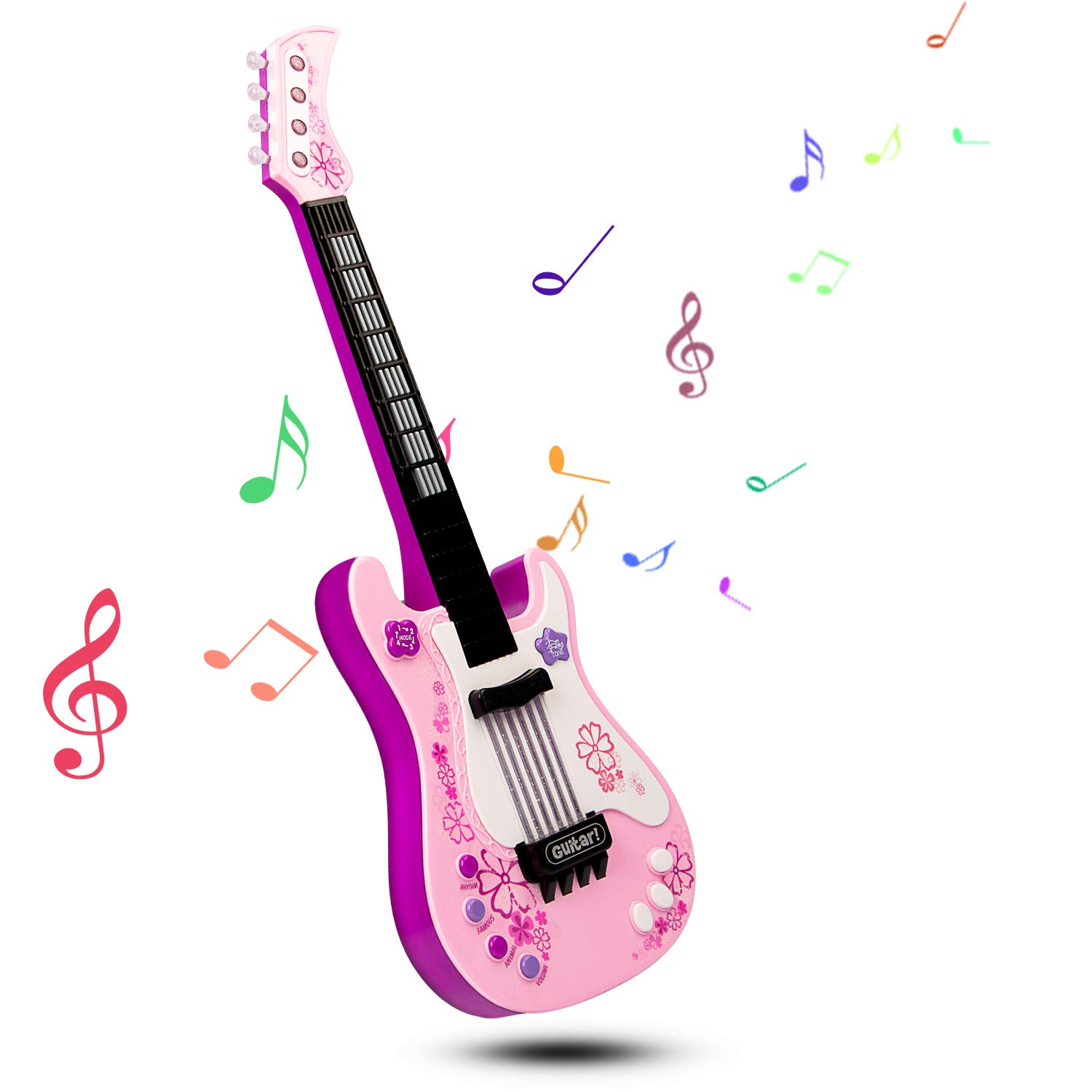 SAOCOOL Electric Guitar for Girls, Multifunction Kids Guitar with Colored Lights Effect, No String Musical Instruments Educational Toy for Girls and Boys (Pink)
