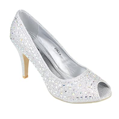 5a67dad16ff0 Aarz Women Ladies Evening Courts Low Heel Open Toe Sandals Wedding Party  Shoes Size(Silver