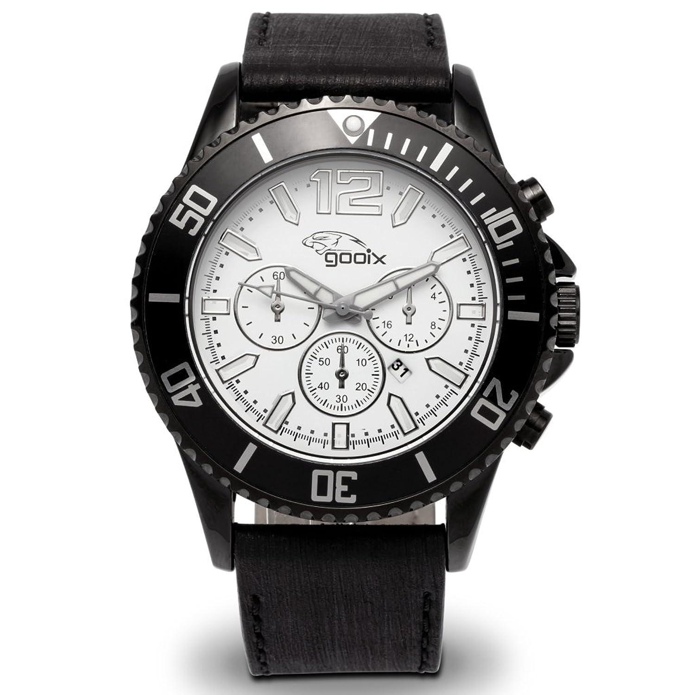 gooix GX0600501A Uhr Herrenuhr Lederarmband Edelstahl 10 bar Analog Datum Schwarz