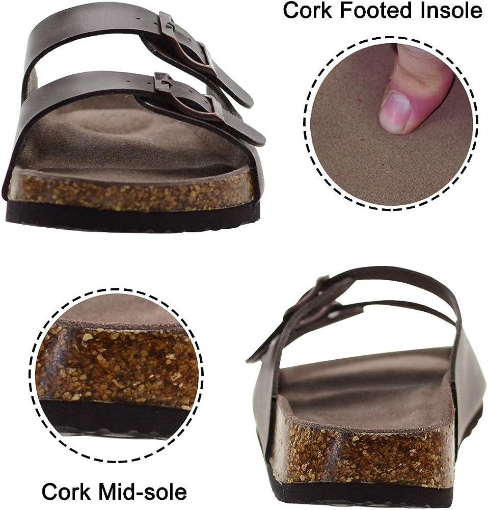 LULEX Slide Sandals for Women Beach Shoe Adjustable Strap Cork Sandals