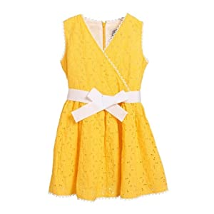 Rockin' Baby Big Girls Yellow Broidery Smock Bow Cotton Willow Dress 10
