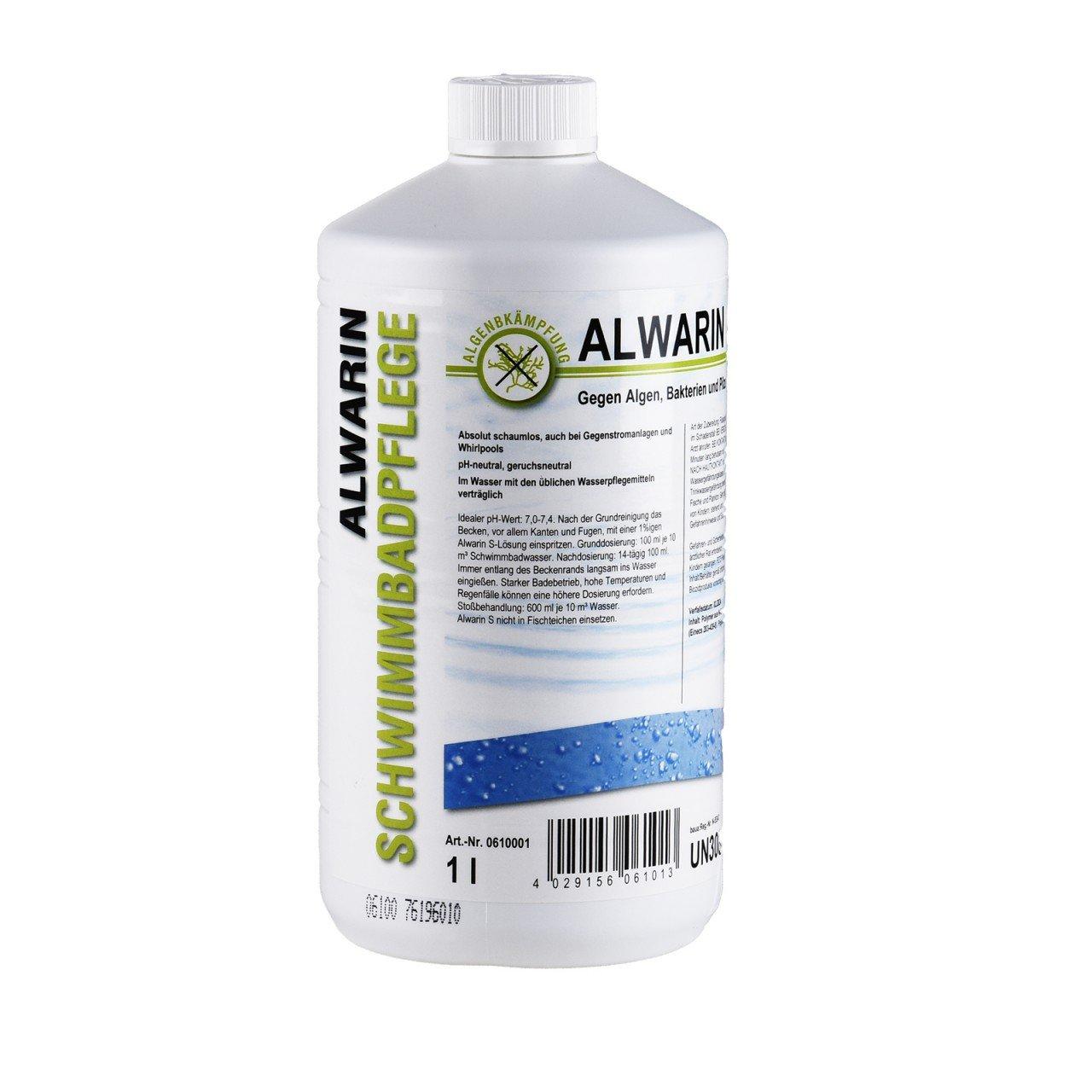 Alwarin-S Algenmittel 1L gegen Algen, Bakterien und Pilze im Schwimmbecken, absolut schaumloses Säubern von Pool Wassern ZAWA GmbH