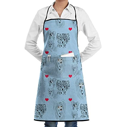 69d38012a624 Amazon.com  Niwaww Blue Chinese Crested Fabric Aprons for Women with ...