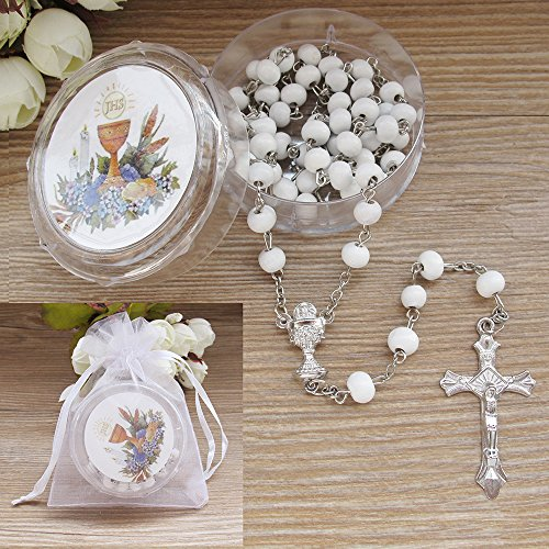 First Holy Communion Scented Rosary Favor 12PCS White/ Recuerdos para Primera Comunion Rosarios with Gift box and Organza bag