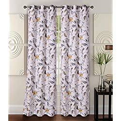 "GorgeousHomeLinen (FLORAL) 1 Print Blackout Thermal Insulated Room Darkening Window Grommet Curtain Drape Panel, 35""X63"" 84"" Inches (#11 YELLOW BIRD, 35""x63""inch)"