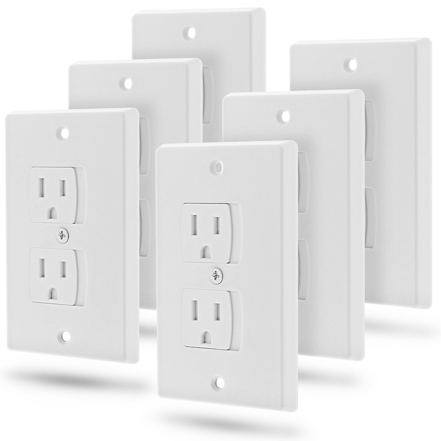 Self-Closing Outlet Cover (6 Pack), Fosmon Baby Guard Standard Wall Outlet Plate [Baby-Proofing | Child Safety] Electrical Socket Plugs Automatic Sliding Cap Cover - White