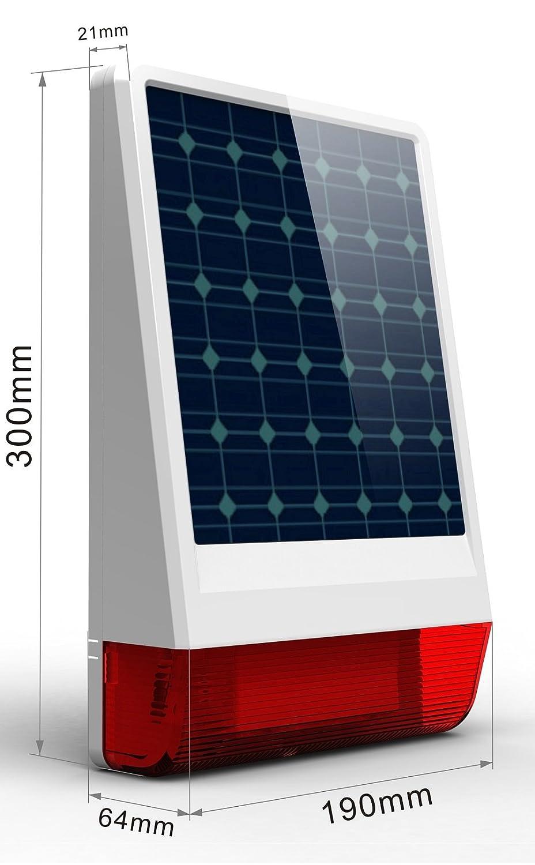 Multi Kon Trade: Funk Solar Power Sirene mit Bitzlicht * Innovativ * Einfach * Funk Solar- Aussensirene mit Blitzlicht fü r unsere Alarmanlagensysteme * 433 MHZ *