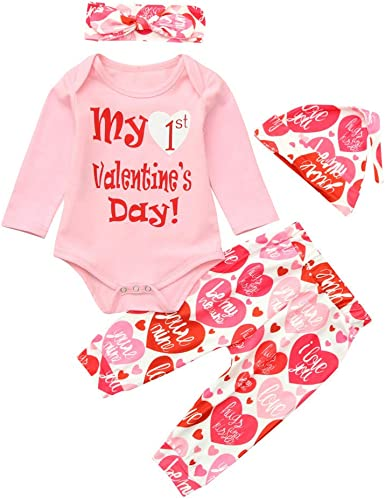 My 1st Valentines Day Newborn Baby Boy Girl Jumpsuit Tops Romper Pants Outfit US