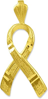Amazon Com American Heroes 10k Gold Childhood Cancer Awareness Ribbon Charm 3d Pendant Cancer Ribbon Jewelry Jewelry