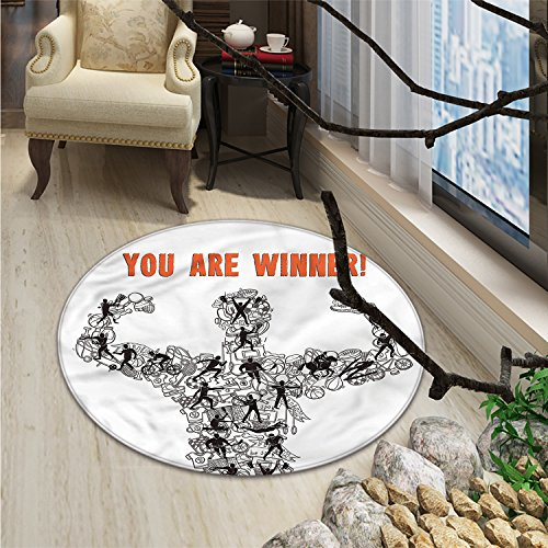 Olympics Round Area Rug Winner Concept with Sportsman Silhouette Made of Athletes and Competition IconsOriental Floor and Carpets Black White - Concepts Striped Rug