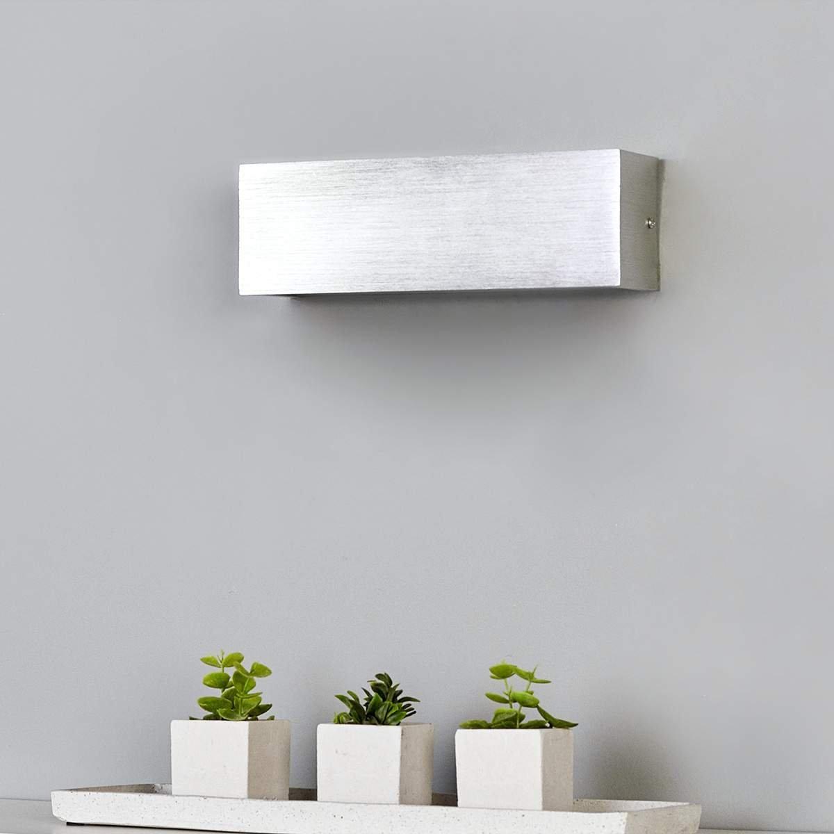 LED Wandleuchte Ranik Eckig Aluminium Alu-Wandlampe Wohnzimmer Lampenwelt Metall