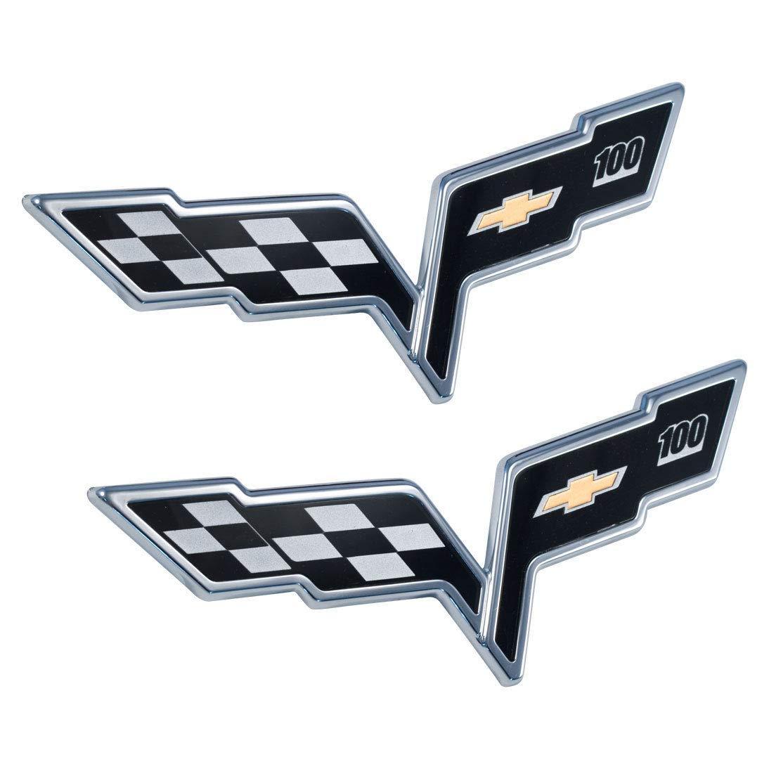 C6 Corvette Black Front Rear 100 Anniversary Emblems