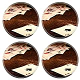 MSD Round Coasters Non-Slip Natural Rubber Desk Coasters design 26583393 American West Legend vintage ace of spade playing card and stack of antique poker game cards on a weathered wood table in