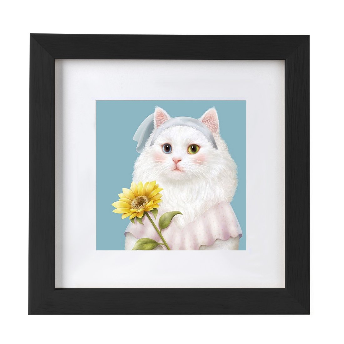 14x14 Black Picture Frames Matted to 8x8 Wooden Square Photo Frames for Wall Hanging by BOJIN