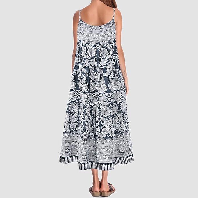 Overdose Vestidos Largos Mujer Talla Grande Vintage Casual Estampado Suelto Algodón Túnica Vestido de Gran tamaño Fresco Verano Acogedor: Amazon.es: Ropa y accesorios