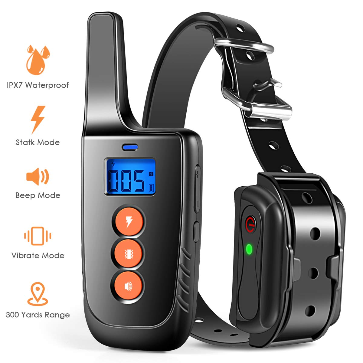 BB-BAO Rechargeable Dog Training Collar with 3 Training Modes, Adjustable Beep, Vibration and Shock Sensitivity Level, Barking Detection Small Large Dog