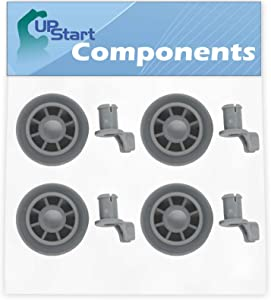 4-Pack 165314 Dishwasher Lower Dishrack Wheel Replacement for Bosch SHE4AM12UC/01 Dishwasher - Compatible with 00165314 Lower Rack Roller - UpStart Components Brand