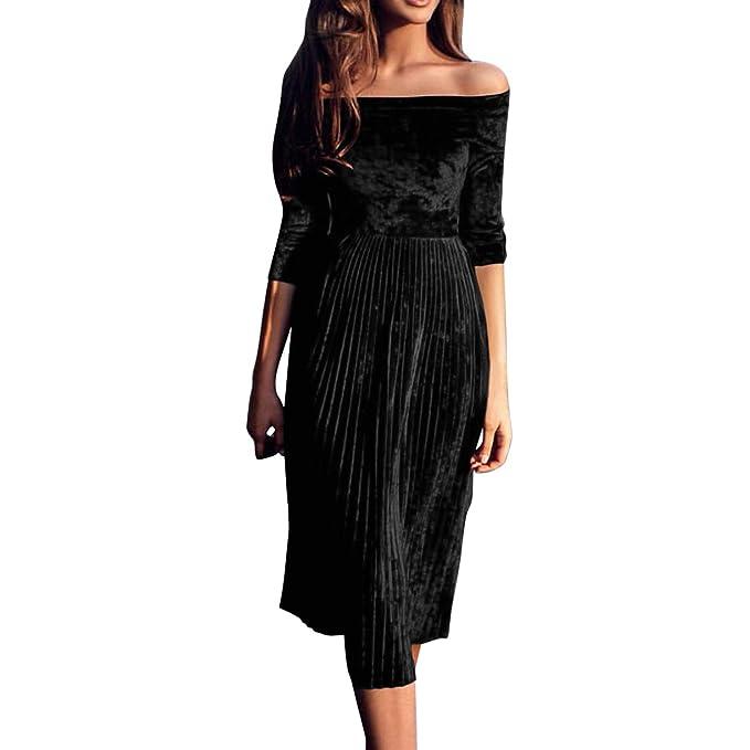 6e968c7dcd2b olinase Women Off Shoulder Velvet Midi Dress Bodycon Elegant Pleat Swing  Skirt Black 0-S
