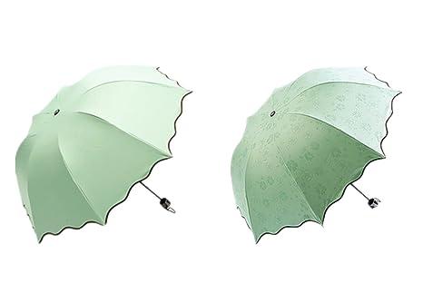 longlove Creative paraguas automático plegable Bloom con agua delicado atractivo neews Papel Impresión Sun Lluvia Paraguas